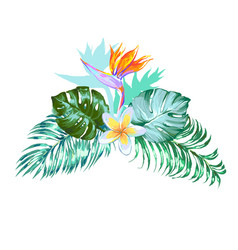 Floral arrangement with tropic palm leaves vector
