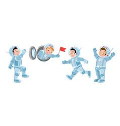 Funny boys cosmonaut or astronaut set vector
