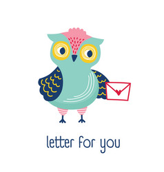 funny owl holding envelope mail or message and vector image