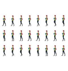 girl student walk cycle animatio sequence loop vector image