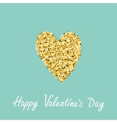 Gold glitter heart Flat design Blue background vector