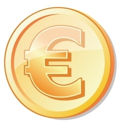golden coin with euro shuny sign vector image