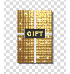 Golden vintage gift card design with shining vector