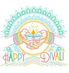Greeting card diwali linear style vector