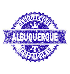 Grunge textured albuquerque stamp seal with ribbon vector