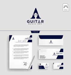 guitar music logo template vector image