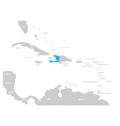 haiti blue marked in the map of caribbean vector image