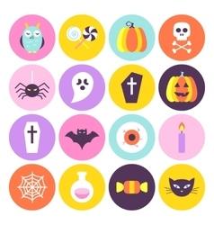 Halloween Trendy Circle Icons Set vector