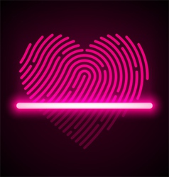 Heart shaped fingerprint scanner vector image