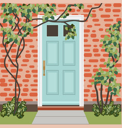 House door front with doorstep and mat window vector