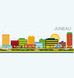 Juneau skyline with color buildings and blue sky vector