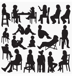 kids setting silhouettes vector image