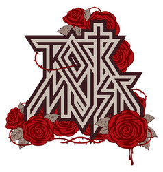 Logo rock music with red roses and blood vector