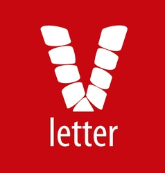Logo v letter from abstract modules vector