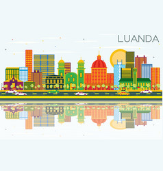 Luanda angola skyline with color buildings blue vector