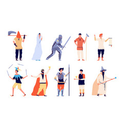 medieval characters fairy and knight peasant vector image