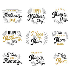 mothers day lettering set with hand-drawn elements vector image