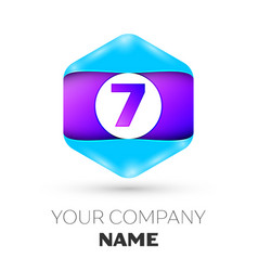Number seven symbol in colorful hexagonal vector