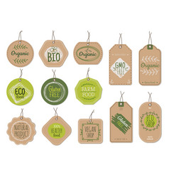organic cardboard labels eco paper badges green vector image
