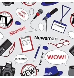 Pattern with journalism icons vector