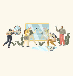 People looking at mirror reflection self vector