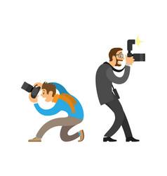 Photographer and paparazzi with digital cameras vector
