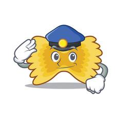 police farfalle pasta character cartoon vector image