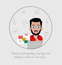 Poster teachers day with teacher character vector