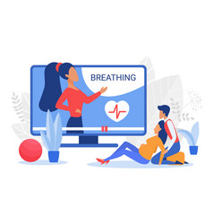 Pregnant courses with breathing methods couple vector