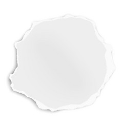 Ripped paper tear rounded shape isolated on white vector