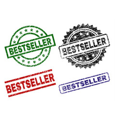 scratched textured bestseller seal stamps vector image