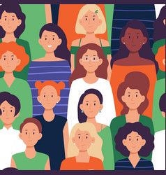 seamless crowd women pattern ladies group vector image