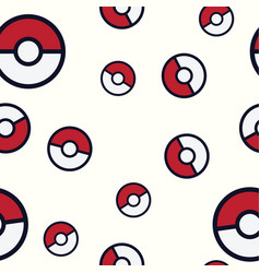 Seamless pattern pokemon go pokeball background vector
