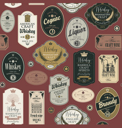 Seamless pattern with labels for alcoholic drinks vector
