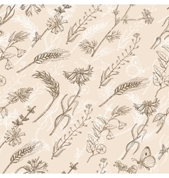 Seamless pattern with wild plants on a beige vector
