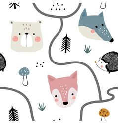 seamless woodland pattern with cute animal faces vector image
