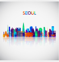 seoul skyline silhouette in colorful geometric vector image