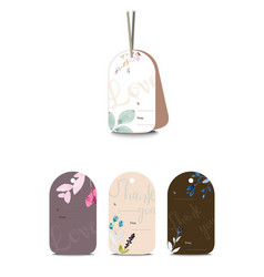 Set cute tags with hand drawn watercolor vector
