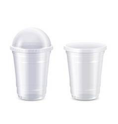 set empty clear disposable plastic vector image