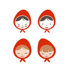 Set flat icon girl in red hat vector