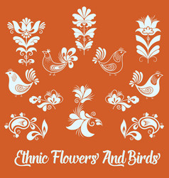 set of floral elements and birds vector image