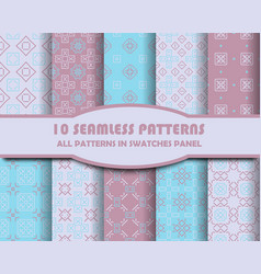 Set of geometric seamless patterns for vector