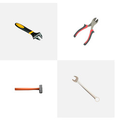 set of instruments realistic symbols with wrench vector image