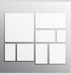 set white mockup cards vector image