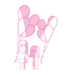 silhouette cute girls with balloons in the hand vector image