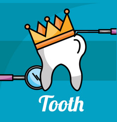 Tooth in crown tools dental care vector