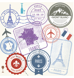 Travel stamps set - france and paris journey vector