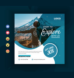 Travelling social media promotional post template vector