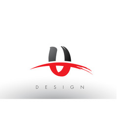 U brush logo letters with red and black swoosh vector
