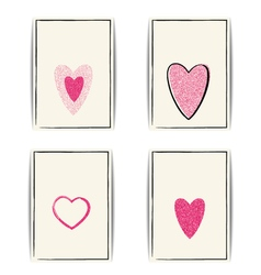 Valentine template with pink glitter heart and vector image